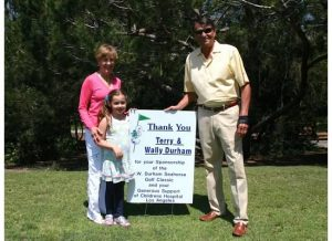 Tournament Title Sponsors, Wally and Terry Durham, with granddaughter, Shannon Cobb, welcomed players to the first tee.