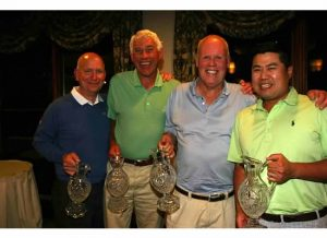 Gold Sponsor, Bill Finestone (2nd from left) celebrated a first place overall gross win with teammates Steve Miller, Chuck White and Jimmy Lee (l to r).