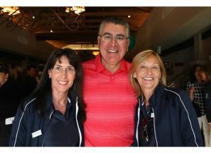 Richard Cordova, CEO of Children's Hospital Los Angeles enjoys a special greeting from Dawn Knickerbocker (l), 2014 Horse Show Chair and Patty Ochi (r), PCCH President