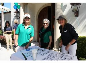 PCCH Volunteers Andrea Sala, Vicky Lee and Pat Murphy greeted golfers at the bag drop.